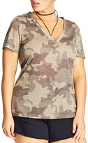 City Chic Roll Cuff Camo Top