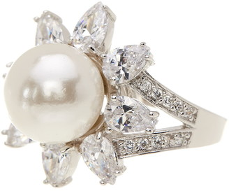 Cz By Kenneth Jay Lane Rhodium Plated Pear CZ & Imitation Pearl Ring