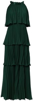 True Decadence Pine Green Tiered Pleated Maxi Dress