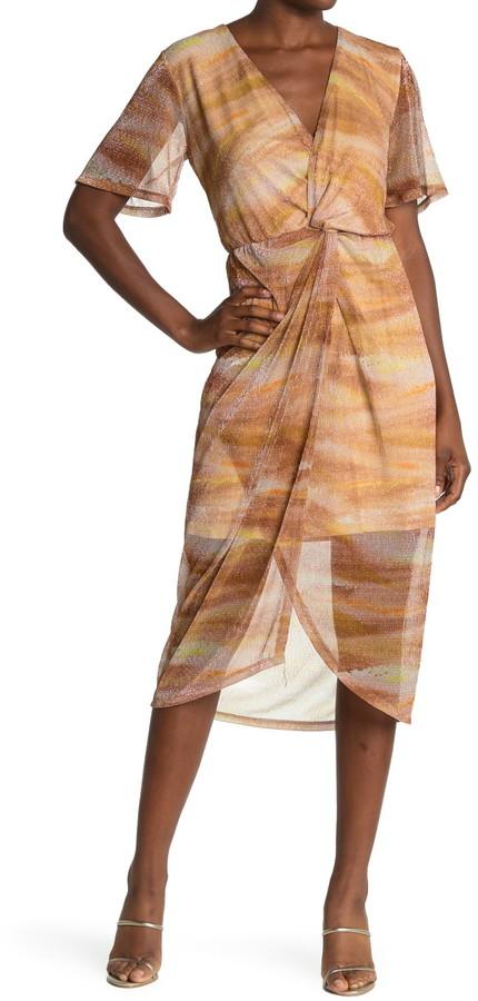 ALL IN FAVOR Shimmer Twist Mesh Midi Dress