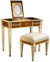 French Heritage Aubin Mirrored Vanity & Stool - Ivory