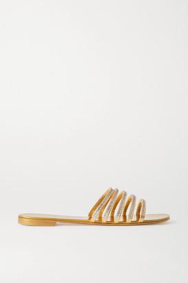 Giuseppe Zanotti Nuv Crystal-embellished Metallic Leather Slides - Gold