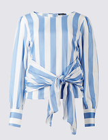 Limited Edition Pure Cotton Striped Tie Front Shell Top