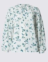Marks and Spencer Tie Front V-Neck Long Sleeve Blouse