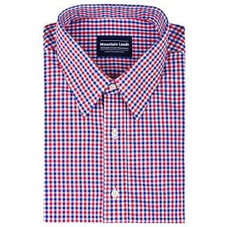 Mountain Leads Men's Short Sleeves Plaid Dress Shirt Slim Fit Button Down Collar Cotton Casual Checked Shirt