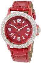 Swarovski Laurens Women's GW70J902Y Crystal Bezel Red Dial Leather Watch