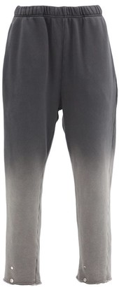 LES TIEN Snap-front Ombre Brushed-back Cotton Track Pants - Black