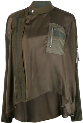 Sacai Asymmetric Satin Military Blouse