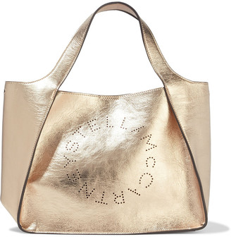 Stella McCartney Perforated Metallic Faux Cracked-leather Tote