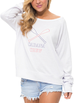 Macbeth White 'Cabana Crew' Off-Shoulder Sweatshirt