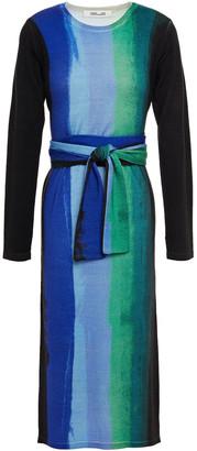 Diane von Furstenberg Gabel Belted Printed Merino Wool Midi Dress