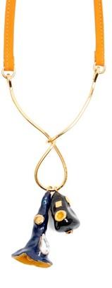 Marni Crystal-embellished Enamel Pendant Necklace - Orange