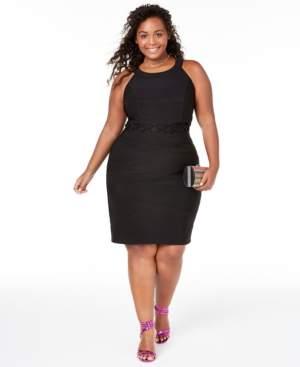 Emerald Sundae Trendy Plus Size Illusion-Waist Bodycon Dress