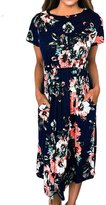 YMING Women's Casual Short Sleeve Floral Flower Midi Dress with Pockets Black L