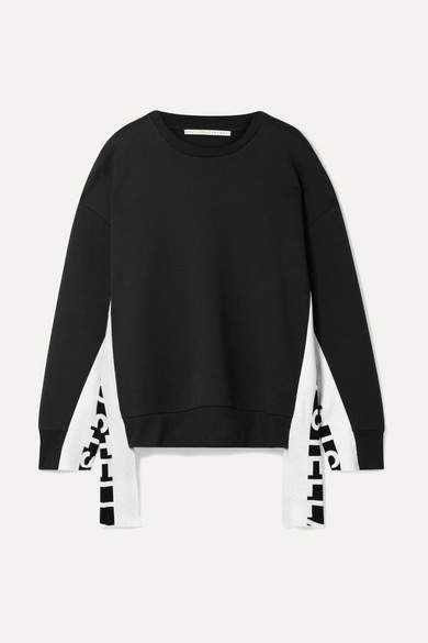 Stella McCartney Intarsia-trimmed Cotton-blend Jersey Sweatshirt - Black