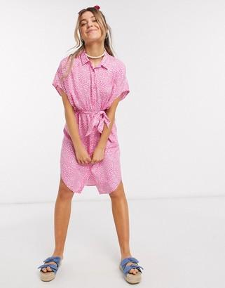 Monki Ninni dot print belted shirt dress in pink