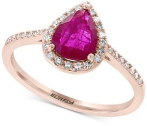 Effy Sapphire (1 ct. t.w.) & Diamond (1/6 ct. t.w.) Ring in 14k White Gold (Also Available in Certified Ruby)