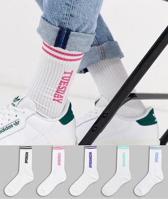 Asos Design DESIGN 5 pack days of the week sports sock save-Multi