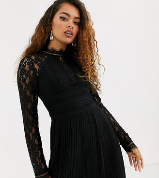 TFNC Petite Bridesmaid high neck long sleeve pleated mini dress with lace inserts in black