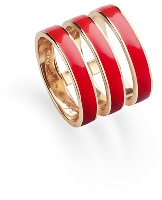 Repossi Berbere Chromatic 18K Rose Gold & Red Lacquer 3-Row Ring