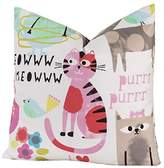 1 Piece 26x26 Multi Kids Purrty Cat Themed Throw Pillow, Beautiful Pretty Pussy Cats Meow Print Sofa Pillow, Colorful Pets Animal Design Cushion, Adorable Flowers, Birds Print, Square Shape, Polyester