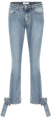 MSGM Bow trimmed straight-leg jeans