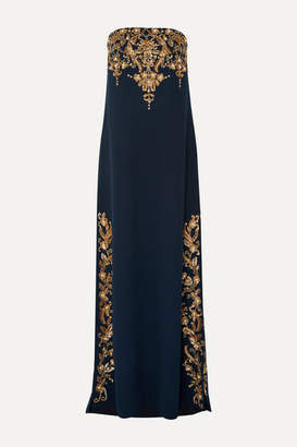 Oscar de la Renta Strapless Embellished Wool-blend Gown - Navy
