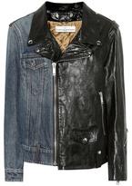 Golden Goose Deluxe Brand Leather and denim biker jacket