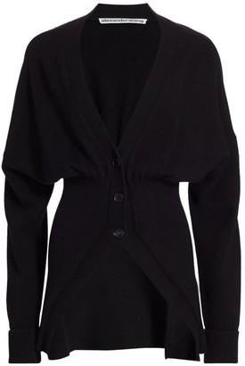 Alexander Wang Wool & Cashmere-Blend Long-Line Blouson Cardigan