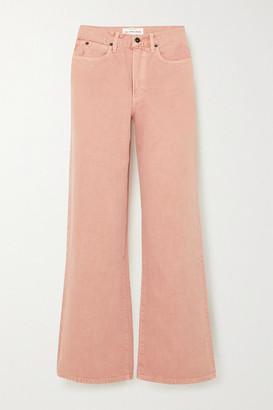 SLVRLAKE Grace Cropped High-rise Wide-leg Jeans - Pink