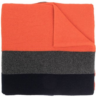 DSQUARED2 Logo Patch Colour-Block Knitted Scarf