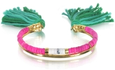 Aurelie Bidermann 18K Gold-plated & Pink Tinted Howlite and White Bamboo Beads Sioux Bracelet w/Emerald Cotton Tassels