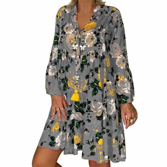 Leedy Clothing LEEDY Summer Dress Women's Loose Print Seven-Point Sleeves Loose Large Size Dress Sexy Button Deep V-Neck Party Beach Sun Dance Gray