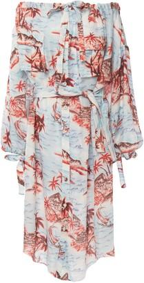 Zimmermann Eyes On Summer Off-the-shoulder Printed Cotton And Linen-blend Dress