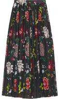 ADAM by Adam Lippes Pleated Floral-Print Voile Wrap Skirt