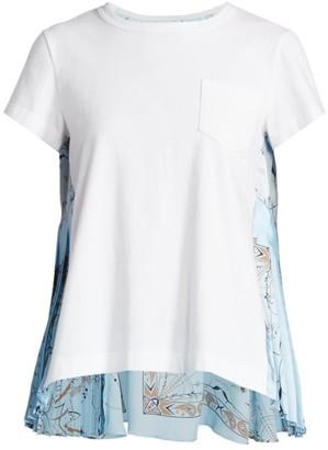 Sacai Dr. Woo Bandana-Print Mixed T-Shirt