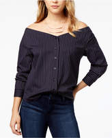 Kensie Off-The-Shoulder Pinstripe Shirt