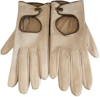 Valextra White Leather Gloves