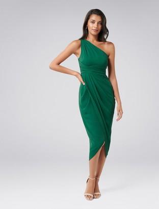 Forever New Mandy Petite One-Shoulder Drape Maxi Dress - Green Bay - 4