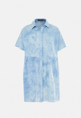 Missguided Blue Tie Dye Shirt Smock Dress