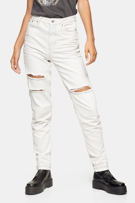 Topshop Womens Tall Bleach Stone Ripped Mom Tapered Jeans - Bleach Stone