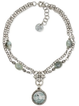 "Patricia Nash Silver-Tone Floret & Gray Labradorite Double Chain National Gallery Pendant Necklace, 20"" + 2"" extender"