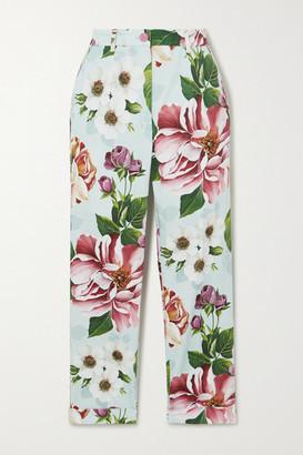 Dolce & Gabbana Cropped Floral-print Cotton-blend Twill Slim-leg Pants - Blue