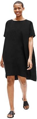 Eileen Fisher Round Neck Short Sleeve Dress (Black) Women's Dress