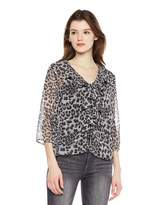 Beautiful Nomad Women Chiffon Romantic Junior Blouse Top with Floral Print and Ruffle Neck Trim