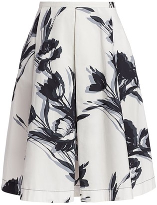 Piazza Sempione Pleated Floral Skirt