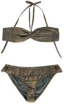 Polder Sale - Porto Striped Lurex Cotton 2 Piece Swimsuit