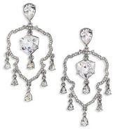 Oscar de la Renta Shield Crystal Chandelier Clip-On Earrings