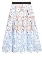 Self-Portrait Flower Garden guipure-lace midi skirt