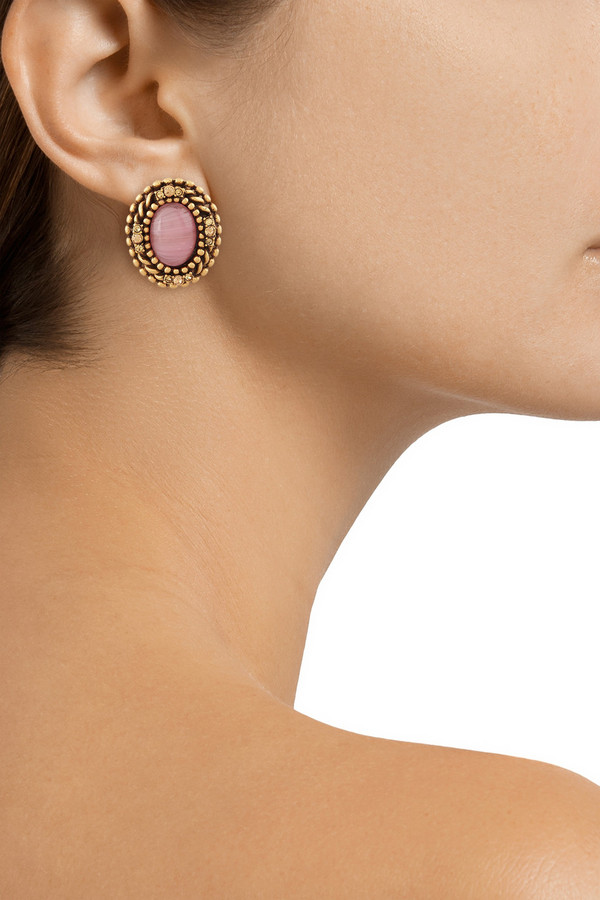 Oscar de la Renta Gold-plated, cabochon and crystal clip earrings